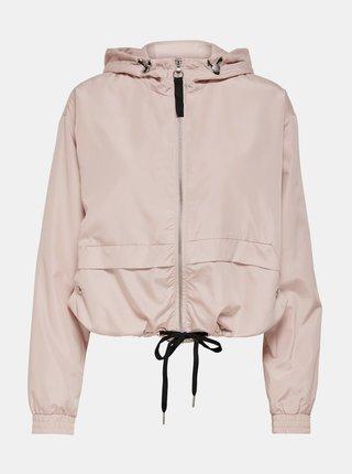 Svetloružová krátka bunda s kapucou ONLY