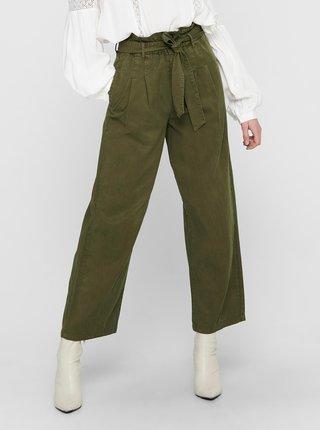 Zelené zkrácené široké kalhoty se zavazováním ONLY Pipi