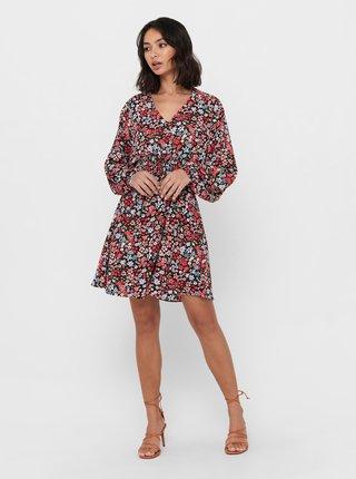 Červené květované šaty ONLY Tamara