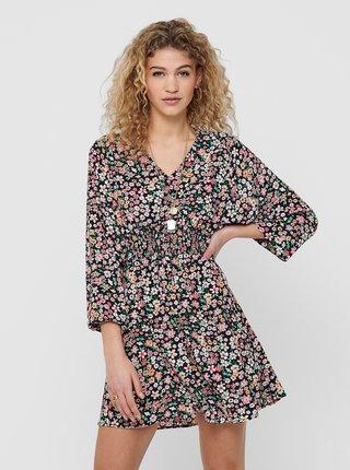Černé květované šaty ONLY Tamara