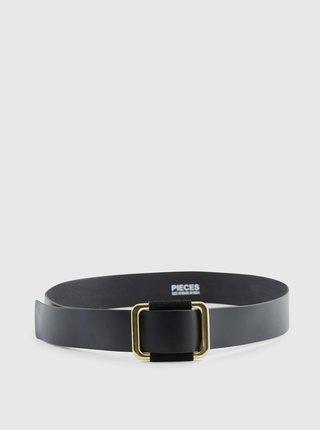 Černý kožený pásek Pieces Luna
