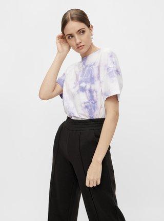 Fialovo-bílé batikované tričko Pieces Panni