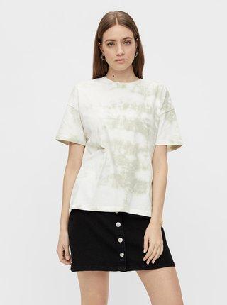 Šedo-bílé batikované tričko Pieces Panni