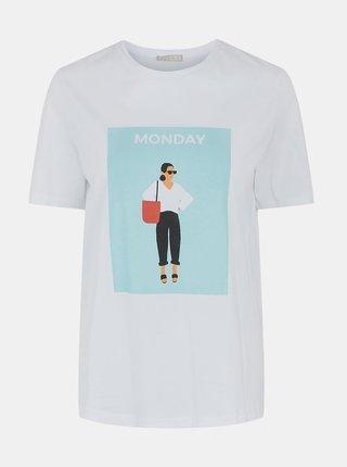 Bílé tričko s potiskem Pieces Monda
