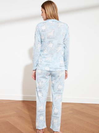 Světle modré vzorované pyžamo Trendyol