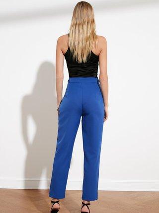 Modré zkrácené kalhoty Trendyol