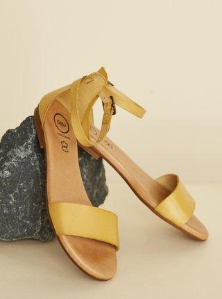 Horčicové kožené sandále OJJU