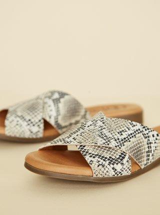 Šedé kožené pantofle s hadím vzorem OJJU