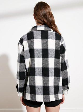 Čierno-šedá kockovaná bunda Trendyol