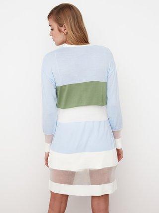 Modro-bílý dlouhý kardigan Trendyol
