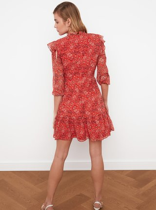 Červené vzorované šaty s volánmi Trendyol