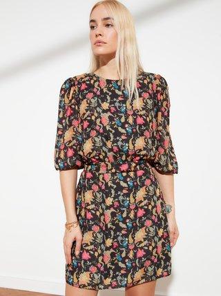 Černé květované šaty Trendyol