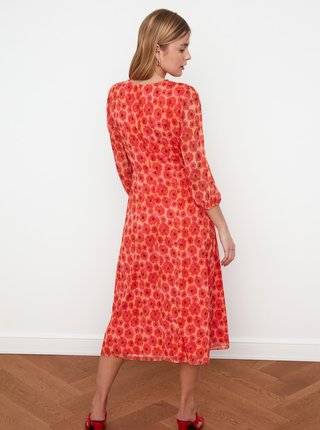 Červené květované midišaty Trendyol