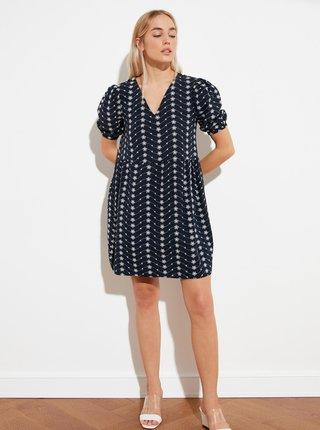 Tmavě modré květované volné šaty Trendyol