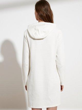 Bílé mikinové šaty s kapucí Trendyol