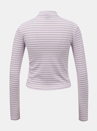 Bílo-fialové pruhované krátké tričko Pieces Raya