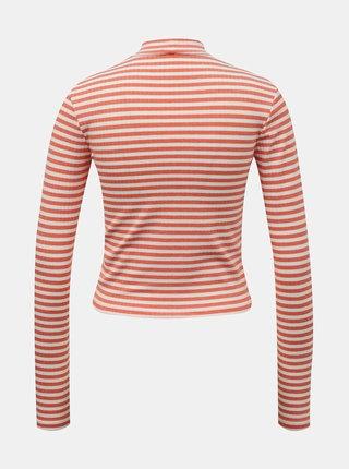 Bílo-oranžové pruhované krátké tričko Pieces Raya