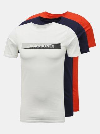 Sada tří triček v bílé a červené barvě Jack & Jones Trevor