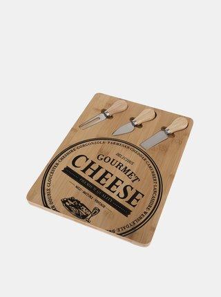 Sada servírovacího bambusového prkénka a tří nožů na sýr Dakls