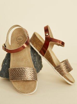 Hnědé dámské kožené lesklé sandálky OJJU