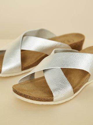Dámské pantofle ve stříbrné barvě OJJU