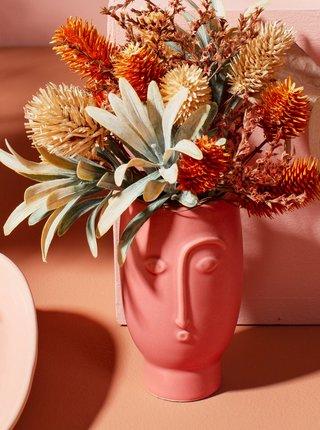 Červená váza v tvare tváre Sass & Belle