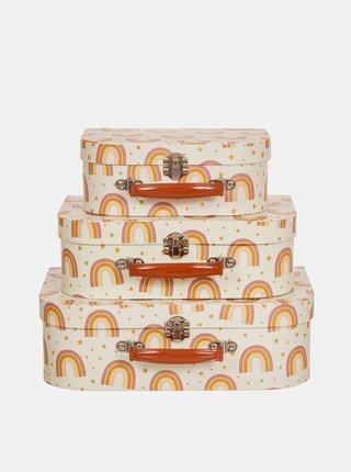 Sada troch oranžových vzorovaných kufríkov Sass & Belle