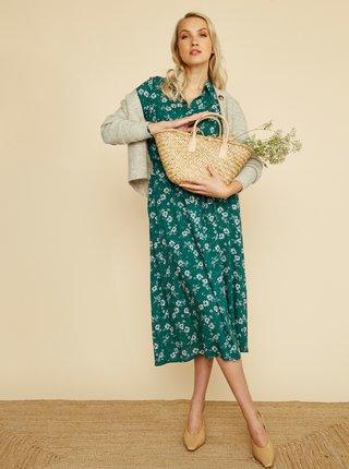 Zelené květované košilové midišaty ZOOT Rhonda
