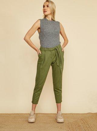 Zelené dámske skrátené ľanové nohavice ZOOT Alondra