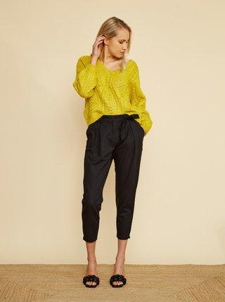 Černé dámské zkrácené lněné kalhoty ZOOT Alondra