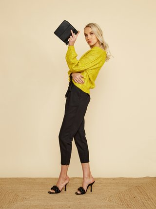 Čierne dámske skrátené ľanové nohavice ZOOT Alondra
