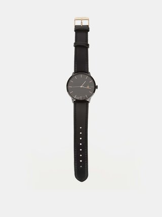 Černé unisex hodinky s páskem z veganské kůže Cheapo Khorshid Fika