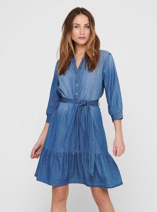 Modré džínové košilové šaty Jacqueline de Yong Sille