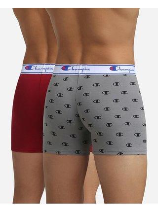 BOXER CHAMPION LEGACY 2x - Pánské sportovní boxerky 2 ks - tmavě červená - šedá