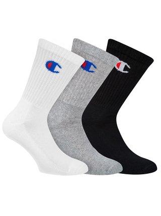 CHAMPION CREW SOCKS LEGACY 3x - Sportovní ponožky 3 páry - černá - šedá - bílá