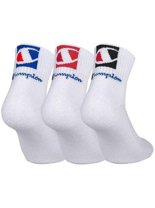 CHAMPION ANKLE SOCKS FASHION 2 LOGOS 3x - Kotníkové ponožky se dvěma logy 3 páry - bílá