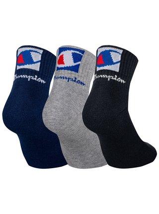 CHAMPION ANCLE SOCKS FASHION 2 LOGOS 3x - Kotníkové ponožky se dvěma logy 3 páry - tmavě modrá - šedá - černá