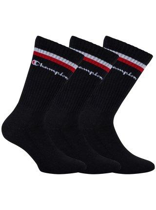 CHAMPION CREW SOCKS FASHION STRIPES 3x - Sportovní ponožky 3 páry - černá - bílá - červená