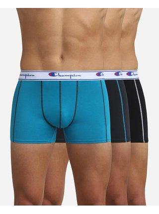 BOXER CHAMPION 3x - 3 ks pánských boxerek s logem Champion na pásku - černá - modrá - tmavě modrá
