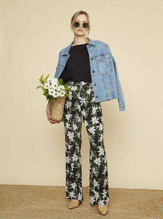 Zeleno-čierne dámske kvetované nohavice ZOOT Ena