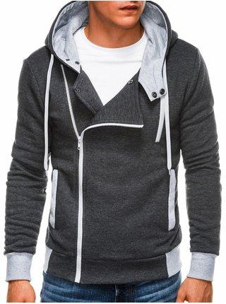 Pánská mikina na zip s kapucí B297 - grafitová
