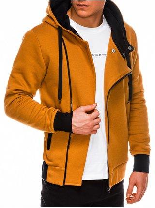 Pánska mikina na zips s kapucňou B297 - svetlo hnedá