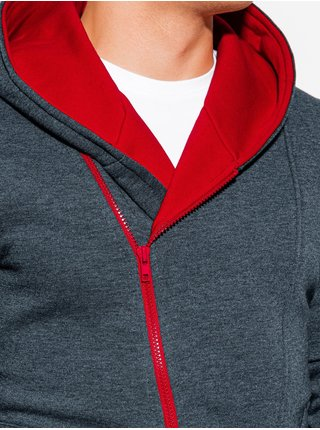 Pánská mikina na zip s kapucí PRIMO - grafitovo/červená