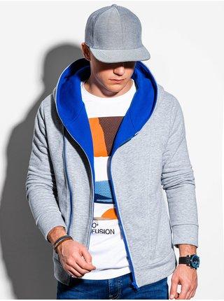 Pánská mikina na zip s kapucí PRIMO - šedo/nebesky modrá