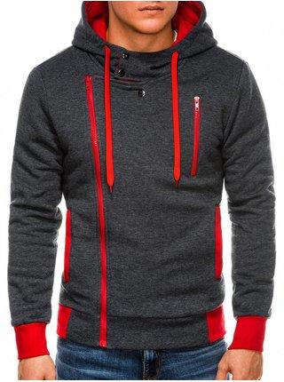 Pánská mikina na zip s kapucí B297 - grafitová/červená