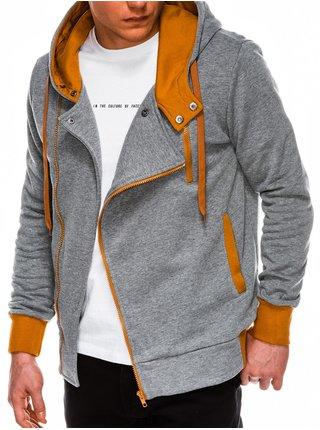 Pánská mikina na zip s kapucí B297 - šedá/světle hnědá