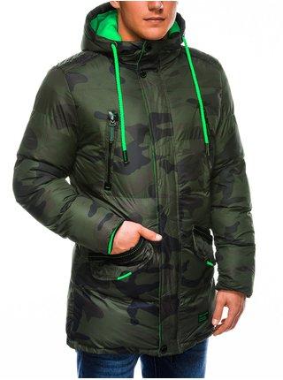 Pánská zimní prošívaná bunda C383 - zeleno/maskáčová