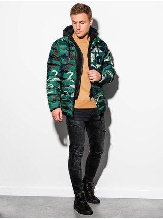 Pánská jarní bunda C384 - zeleno/maskáčová