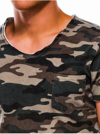 Pánské tričko s potiskem S1050 - zeleno/maskáčové