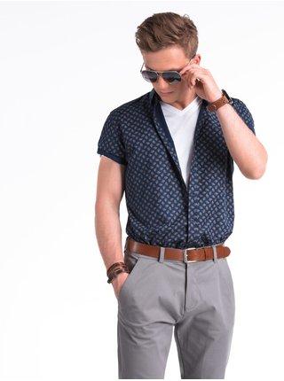 Pánská košile s krátkým rukávem K473 - námořnicko/hnědá